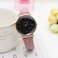 часы из розового золота для дам оптовых-The New Fashion good Brand Rose Gold Leather Watches Women ladies casual dress quartz wristwatch go4417