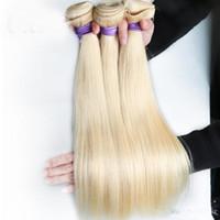 sarışın saç telleri toptan satış-BD Şirketi Malezya Düz Saç İnsan Saç Uzantıları 12 Ila 22 Inç Olmayan Remy Saç Dokuma 613 Sarışın Demetleri