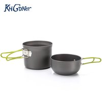 Wholesale pot camping handles online - Camping Cookware Set Outdoor Aluminum Pot Pan Bowl With Foldable Handle Portable Nonstick Pot Set