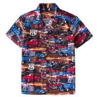 autos route 66 großhandel-Herren Strand Hawaii-Shirt Tropical Summer Classic 50er Jahre Autos Route 66 drucken Bluse beiläufige lose Baumwolle Button-Down-Shirts