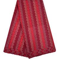 bordado de encaje suiza al por mayor-Cheap Bordado Swiss Voile Lace en Suiza Color rojo African Lace Fabric 2018 Alta calidad Nigerian Swiss Voile Lace 1253