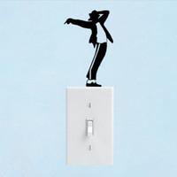 jackson wall venda por atacado-Gatos Jogando Em Um Interruptor de Luz Frente Lado Escuro Freddie Mercury Michael Jackson Adesivo De Parede Arte Do Vinil Decalque Qualquer Decoração do Quarto