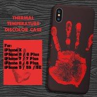 Wholesale temperature color change plastic - Thermosensitive Color Change Case Magical PU Fingerprint Temperature Sensing Thermal Sensor Heat Cover For iPhone X 8 7 Plus 6 6S SE 5S 5