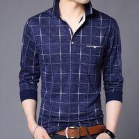 erkekler için ekose polo gömlekleri toptan satış-Moda Marka Polo Gömlek Erkekler Ekose Spor Cep Camisa Polo Masculino Streetwear Sıcak Satış Erkek Polos Gömlek Tişörtü Polo gömlek