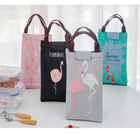 Wholesale Drink Bags - Flamingo Print Thermal Bag Waterproof Lunch Bags Portable Insulated Oxford Tote Food Picnic Lunch Bags DDA160