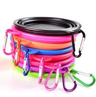 ingrosso ciotola per i gatti-Travel Portable Multi Colors Silicone Pieghevole Pet Dog Cat Bowl Pieghevole Water Dish Feeder LX3351