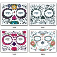 Wholesale Christmas Party Facial Day of the Dead Faced Tattoo Halloween and Masquerade Ball Must Tattoo Sticker Waterproof Faced Tattoo New