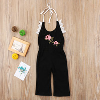 Wholesale Christmas Pajamas Summer - Kids Girls Overalls Clothes Flower Sleeveless Romper Summer Jumpsuit Playsuit Outfit Kid Girl Clothing Drak Blue Pajamas Boutique Toddler
