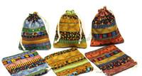 bolsas de lino mini al por mayor-FOLK Linen Bag Drawstring WeddingChristmas Packaging Bolsas Bolsas de regalo Pequeñas joyas Bolsita Mini bolsas de yute