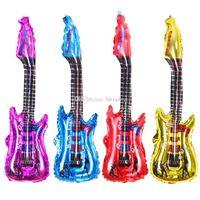 guitares en aluminium achat en gros de-2018 New Guitar Aluminium film Gonflable Balloon 85 cm 4 couleurs mini ballons Fournitures de fête d'anniversaire de Noël C5568