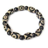 длинный агатовый браслет оптовых-Long Beautiful Stretchy Tibetan Black Agate 3-eye dZi  Beaded Amulet Bracelet