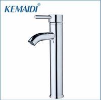 Wholesale Tall Sink - KEMAIDI Slim New Bathroom Glass Deck Mount Slim Tall Basin Sink Polished Chrome Single Handle Vessel Torneira Mixer Tap Faucets