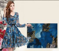 Wholesale bohemian style prom dresses resale online - Fashion new women V neck lace flower prom party beach dress womens chiffon long sleeve dress girls foral printing dress