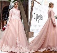 ingrosso vestiti lunghi dal manicotto lungo rosa caldo-Semplice ed elegante 2018 A-Line rosa abiti da sposa maniche lunghe collo alto Medio Oriente abiti da sposa arabi con applicazioni calde