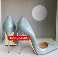 saltos cinzentos da bomba venda por atacado-Frete grátis moda feminina bombas azul cinza couro ponto dedo do pé de salto alto sapatos de salto fino couro genuíno 120mm 100mm foto real