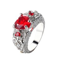 Wholesale free shopping rings - Princess Blue red white Gem Created Blue Crystal Silver Color Wedding Finger Crystal Ring Brand Jewelry for Women Free shopping