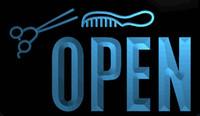 friseursalon haare schneidet großhandel-LS1855-b-OPEN-Hair-Cut-Scissor-Barber-Shop-NEU-Licht-Zeichen-Dekor Kostenloser Versand Dropshipping Großhandel 8 Farben zur Auswahl