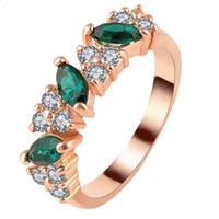 anéis indianos da faixa venda por atacado-Mulheres Anéis de Ouro Rosa de Aço Inoxidável Banda De Casamento De Cristal Com Cubic Zirconia Anéis para As Mulheres Indiano Boêmio Jóias 2018 Presente