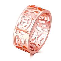 старинные модные кольца оптовых-Высокое качество мода модные 8 мм 18 к розовое золото покрытием цветок старинные обручальные кольца для женщин полые дизайн анилло