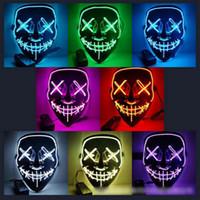 boca livre halloween máscara venda por atacado-EL Fio Máscara Fantasma 10 Cores Fenda Boca Light Up Brilhante Máscara LED Partido Cosplay Halloween Máscaras B