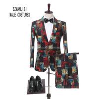Wholesale Wedding Pant Coat Images - Terno Masculino 2018 Latest Coat Pant Design Formal Wear Groom 2 Button Men Printed Wedding Suits Wedding Tuxedos For Men Slim Fit Groomsmen
