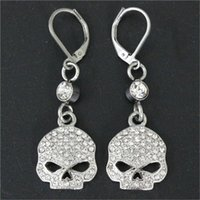 Wholesale christmas earrings - 2pairs newest pink crystal skull biker earrings L stainless steel fashion jewelry ladies popular motorbiker earrings