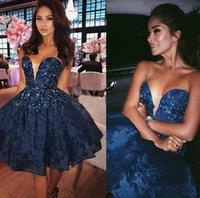 mavi payet diz boyu elbiseler toptan satış-Lacivert Dantel Kısa Gelinlik Modelleri Sevgiliye Sequins Boncuklu Diz Boyu Balo Parti Elbiseler Mezuniyet Elbiseleri Fermuar Up