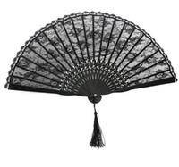 victorian partisi toptan satış-İspanyolca Victorian El Fan Düğün Parti Lehine Fantezi Elbise için Siyah Japon Katlama Cep Fan