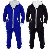 roupa de dormir unisex venda por atacado-Adultos Unisex Onesies Pijamas Mens Mulheres One Piece Algodão Pijama Pijamas Onesies Sleepsuit Preto / Azul