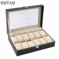 Wholesale jewelry box glass top - OUTAD 12 Slots Grid PU Leather Watch Boxes Casket Display Box Jewelry Storage Organizer Case locked Watch With Glass Top Winder