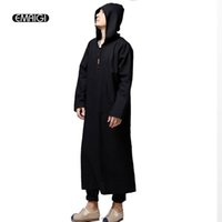Wholesale X Men Women Costume - Wholesale- Men Women Kongfu Costumes Male Casual Hooded Robe Coat High Quality Linen Loose Pullover Trench Jacket