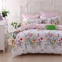 funda de almohada floral azul al por mayor-IvaRose juegos de cama de estilo floral azul ropa de cama funda nórdica Queen King Size + sábana + fundas de almohada
