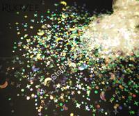 ingrosso stelle bianche decorazioni di natale-Mix Size Moon Stars bianco con tinte chiare colorate Shining Nail Glitter Shape per Glitter Christmas Craft Makeup Art Decoration
