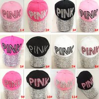Wholesale pink women cowboy hats online - New Sequin Diamond Party Hats Pink Point Baseball Word Cowboy Cap Hats For Adult Women Men Christmas Gifts Colors TY7