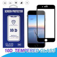 iphone plus protetor de tela pacote de varejo venda por atacado-Para iphone x xr xs max vidro temperado cobertura completa 10d curvo protetor de tela 9 h dureza para iphone 6 7 8 plus com pacote de varejo