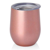 Wholesale Rose Mug - Rose Gold Wine Egg cups Stainless steel Cup 9oz Wine Glassess Wedding Party Beer Mugs 26 colors