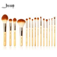 jessup escovas de maquiagem venda por atacado-Jessup marca 15 pcs beleza de bambu maquiagem profissional escovas set compõem kit de ferramentas de escova fundação pó