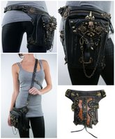 Wholesale Hunting Phone - 2 Style Stylish Women Skull Rivet Punk Messenger Waist Bag Train Apparatus Cell Phone Belt Bag Cool Motorcycle Equipment Leg Bag G212S
