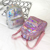 Wholesale holographic bags - New Fashion Design Holographic Backpack Metallic Silver Gold Pink Laser Backpack Women Girls School Bags Travel Casual Shoulder Bags