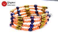natürliche rosa koralle großhandel-Qingmos Natural Coral Armband für Frauen mit rosa Korallen Hämatit magnetische schwarze Perlenkette Armband Schmuck 29 '' ne6068
