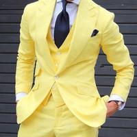 ingrosso disegno del vestito giallo-Giallo 3 pezzi Uomo Abiti 2018 Custom Made Ultimi mutanda Pant disegni Moda uomo Suit Matrimonio Grooms Suit Jacket