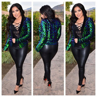 Wholesale night jacket - Full Sequins Jacket Women 2018 CHEAPEST Shinning Sequins Coat Fashion Embellished Jacket Sexy Night Club Jacket Suit (F0349) 2 Colors