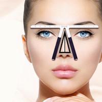 Wholesale eyebrow shaping ruler resale online - Permanent Makeup Tattoo Eyebrow Ruler Measure Tool Metal Eyebrow Balance Ruler Shaping Stencil Tools
