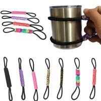 ingrosso paracord misto-1 pz Colore della miscela Paracord Handmade Handle Cup Holder tazza di vuoto maniglia Tumbler bottiglia Cup Holder in modo casuale