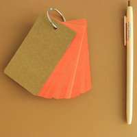 Wholesale Wholesale Note Cards Blank - Binder Ring Easy Flip Flash Cards Index Card, 50 Unruled Blank White Pages, 2 Pack (Orange)