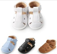 Wholesale slip sandals infants online - 4 colors baby boy first walkers infant shoes toddler boutique anti skidding boy shoes summer boy sandal