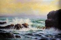 ingrosso pittura a olio d'onda-Dipinto a mano su tela oceano onda pittura olio seascape wall art tela soggiorno decorazione regalo unico Kungfu Art