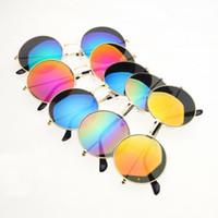 Wholesale mirror alloy rims - Cool Kids Sunglasses Metal Rim Round Frame Mirror Lenses UV400 Protection 11 Colors Cheap Wholesale Sunglasses