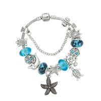 starfish 925 armband großhandel-925 Silber Seestern Anhänger ARMBAND Charms Blau Lila Engagement Perlen Armbänder Hohe Qualität Fashion Party Schmuck für Frauen