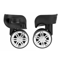 par de ruedas al por mayor-Osmond Reemplazo de 1 par Ruedas de equipaje Maletas de viaje de goma Maletas negras de trolley de 360 grados Izquierda Derecha